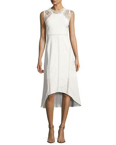 Melody Sleeveless Lace-Trim Paneled Midi Dress