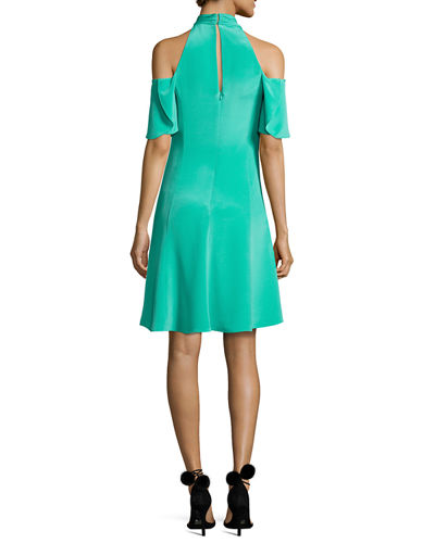 Avril Cold-Shoulder Silk Crepe de Chine Cocktail Dress