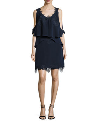 Kobi Halperin Fiora Cold-Shoulder Silk Popover Cocktail Dress