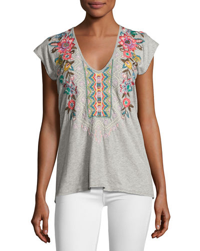 Johnny Was Cortez Short-Sleeve Embroidered Tee, Plus Size
