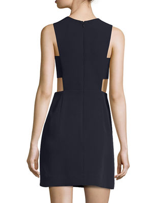 Image 2 of 2: Sleeveless Stretch-Crepe Cutout Minidress