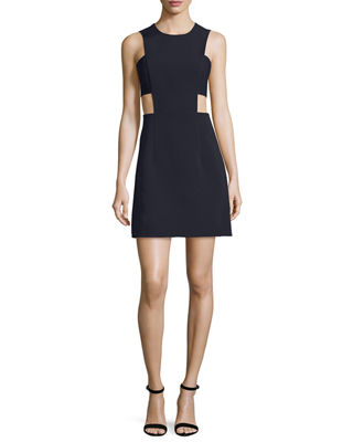 Image 1 of 2: Sleeveless Stretch-Crepe Cutout Minidress