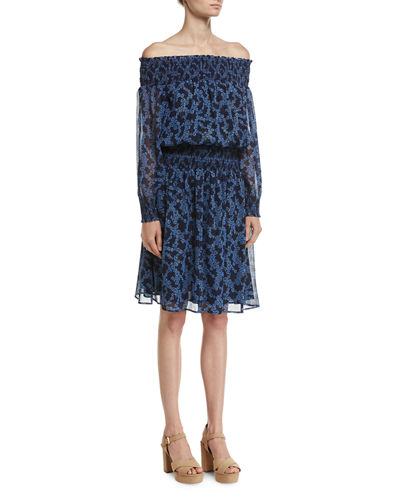 MICHAEL Michael Kors Arbor Off-the-Shoulder Smocked Dress