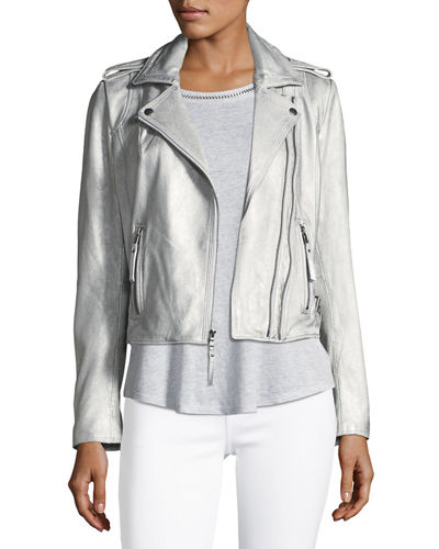 Joie Leolani Metallic Leather Jacket, Gold and Matching