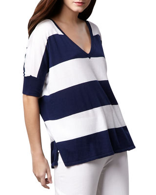 Minnie Rose Wide-Stripe Top