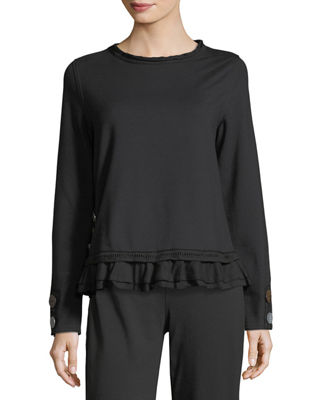 Cape Side Ruffled-Hem Pullover, Plus Size