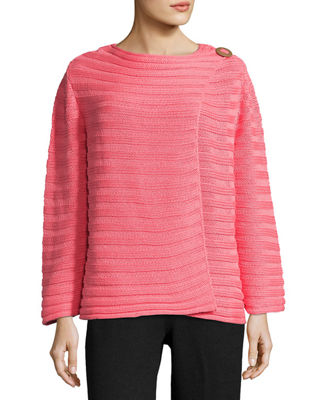 PURE HANDKNIT Summer Crush Ribbed Cardigan Sweater, Plus Size in Pink
