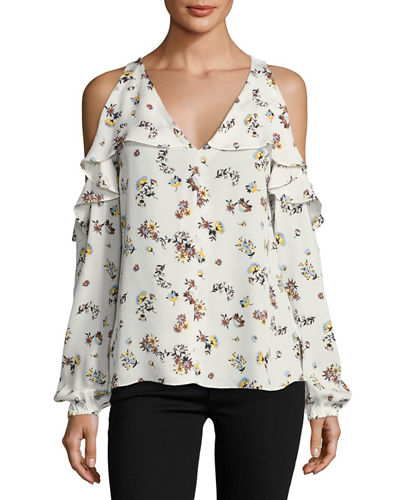 Marlena Cold-Shoulder Floral-Print Silk Blouse