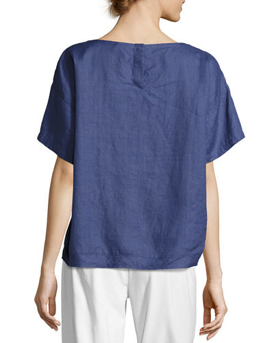Yarn-Dyed Organic Linen Top