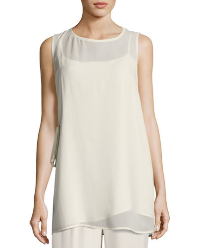 Eileen Fisher Sheer Silk Georgette Sleeveless Top