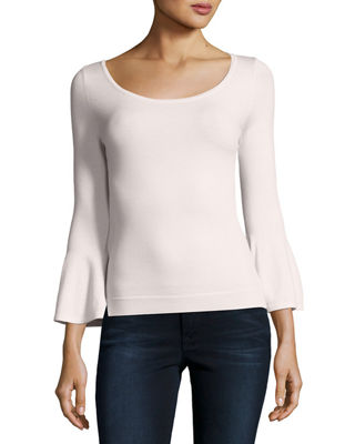 Milly Baby Bell-Sleeve Stretch-Wool Pullover