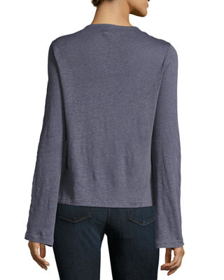 Image 2 of 2: Constance Long-Sleeve Cotton Top
