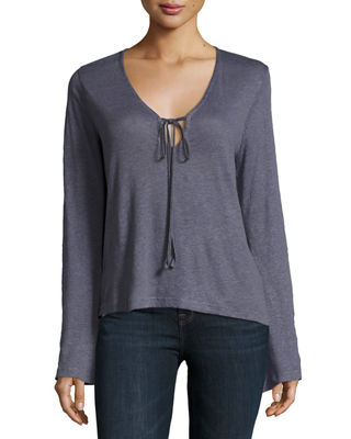 Image 1 of 2: Constance Long-Sleeve Cotton Top