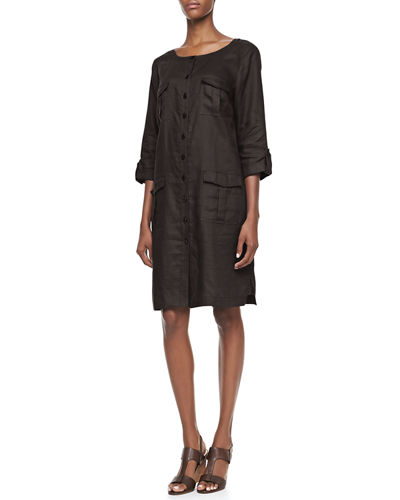 Linen Pocket-Front Shirtdress