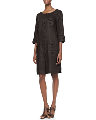 Linen Pocket-Front Shirtdress, Plus Size