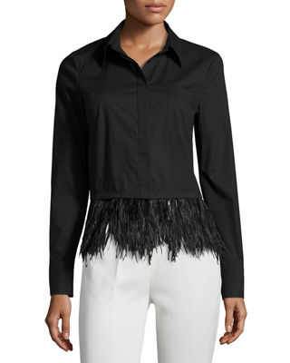 Milly Cross-Dyed Shirting Blouse w/ Detachable Ostrich Feather