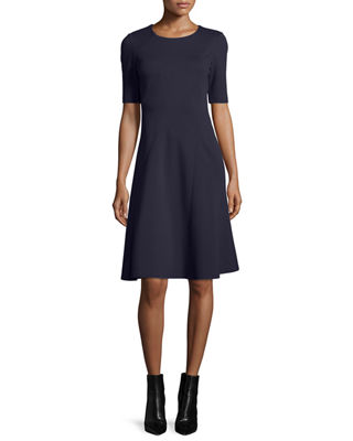 Half-Sleeve Fit-and-Flare Dress