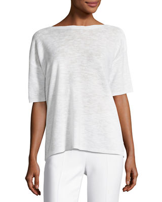 Eileen Fisher Short-Sleeve Organic Linen/Cotton Box Top