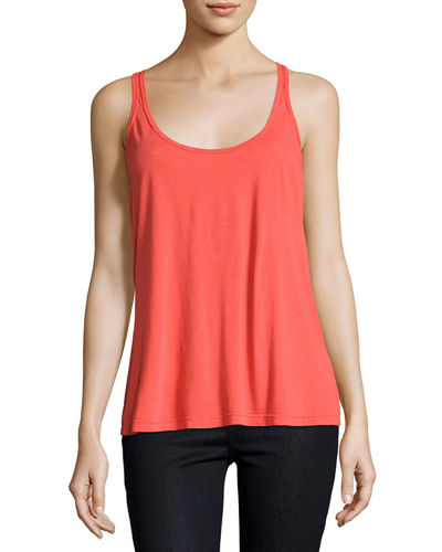 Johnny Was Scoop-Neck Cotton/Modal Tank, Electric Coral, Plus