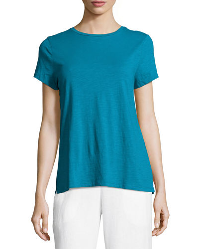 Eileen Fisher Slubby Organic Cotton Short-Sleeve Top