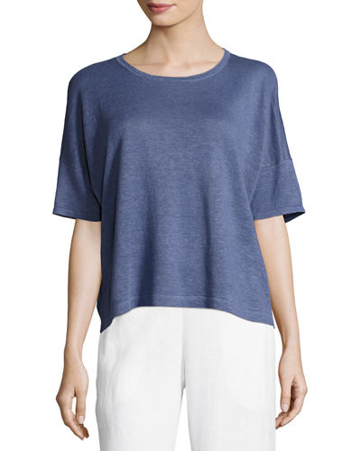 Eileen Fisher Lightweight Organic Linen Box Top
