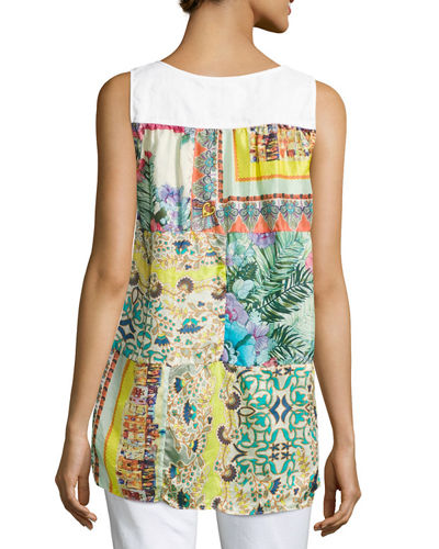 Patchwork-Back Linen Tank