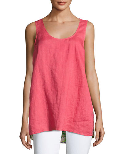 Johnny Was Patchwork-Back Linen Tank