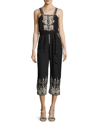 Johnny Was Marlene Embroidered Linen Cropped Jumpsuit, Plus