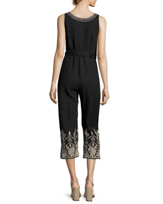 Marlene Embroidered Linen Cropped Jumpsuit