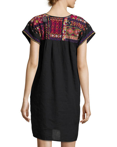 Reid Pleated Peasant Linen Tunic/Dress