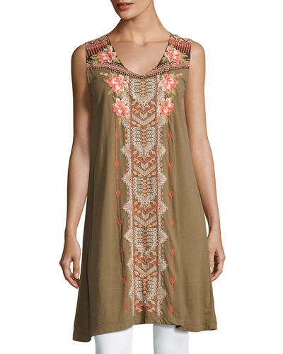 Johnny Was Yojo Sleeveless Embroidered Tunic