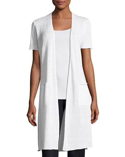 Eileen Fisher Organic Linen Knit Long Cardigan, Petite