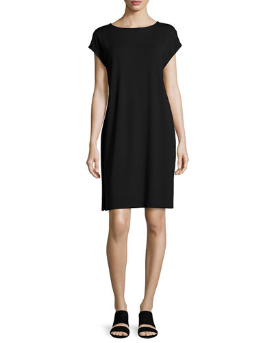 Eileen Fisher Bateau-Neck Jersey Shift Dress, Petite