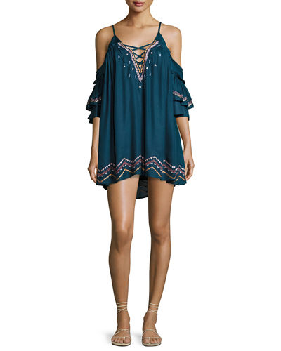 Red Carter Naples Embroidered Swim Coverup Dress