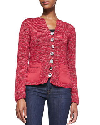 PURE HANDKNIT Bay Breeze Multi-Button Cardigan, Plus Size in London Red