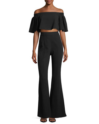 Black Halo Hadid Off-the-Shoulder Ponte Flare-Leg Jumpsuit