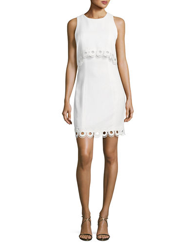 Shoshanna Sleeveless Scalloped Popover Sheath Dress
