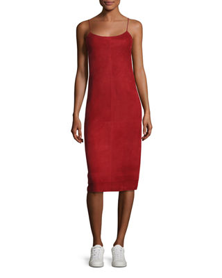 Telson S Metises Suede Midi Dress, Red in Claret