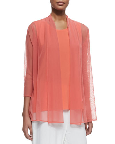 Caroline Rose 3/4-Sleeve Illusion Sheer Cardigan