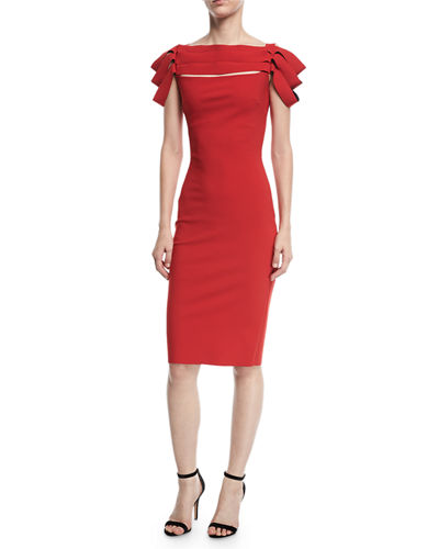 Stana Sleeveless Draped Ribbon Cocktail Dress