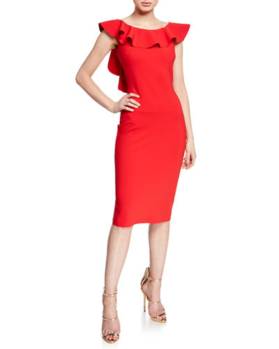 Chiara Boni La Petite Robe Marika Sleeveless Ruffle Cocktail Dress