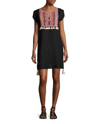 Embroidered Coverup Linen Dress W/ Tassels