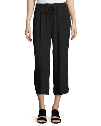 Vince Drawstring-Waist Draped Crop Pants and Matching Items