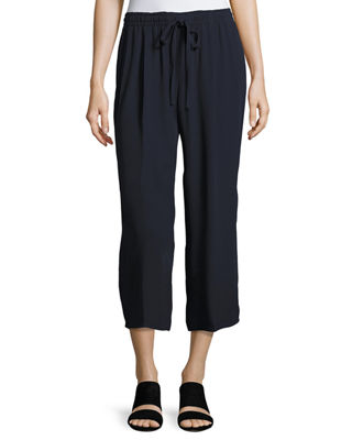 Vince Drawstring-Waist Draped Crop Pants