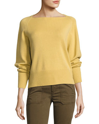 Image 1 of 3: Boat-Neck Pullover Cashmere Sweater