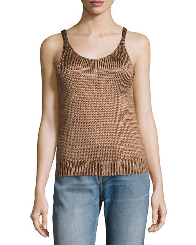 Vince Cable-Knit Silk Crop Tank Top