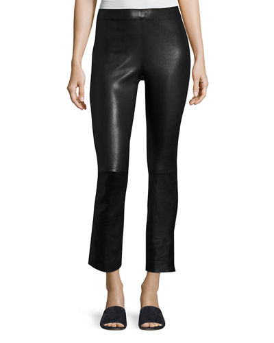 Vince Leather Split Hem Cropped Pants and Matching