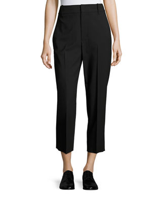 Tapered Mid-Rise Straight-Leg Wool Trousers, Black