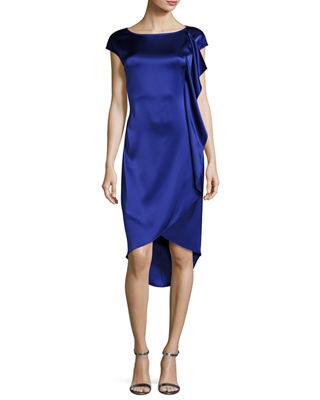 Liquid Satin Cap-Sleeve Ruffled Cocktail Dress