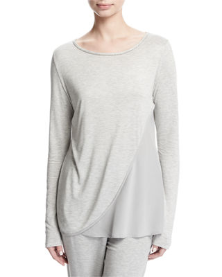 Image 1 of 2: Scoop-Neck Sleek Viscose Jersey Top